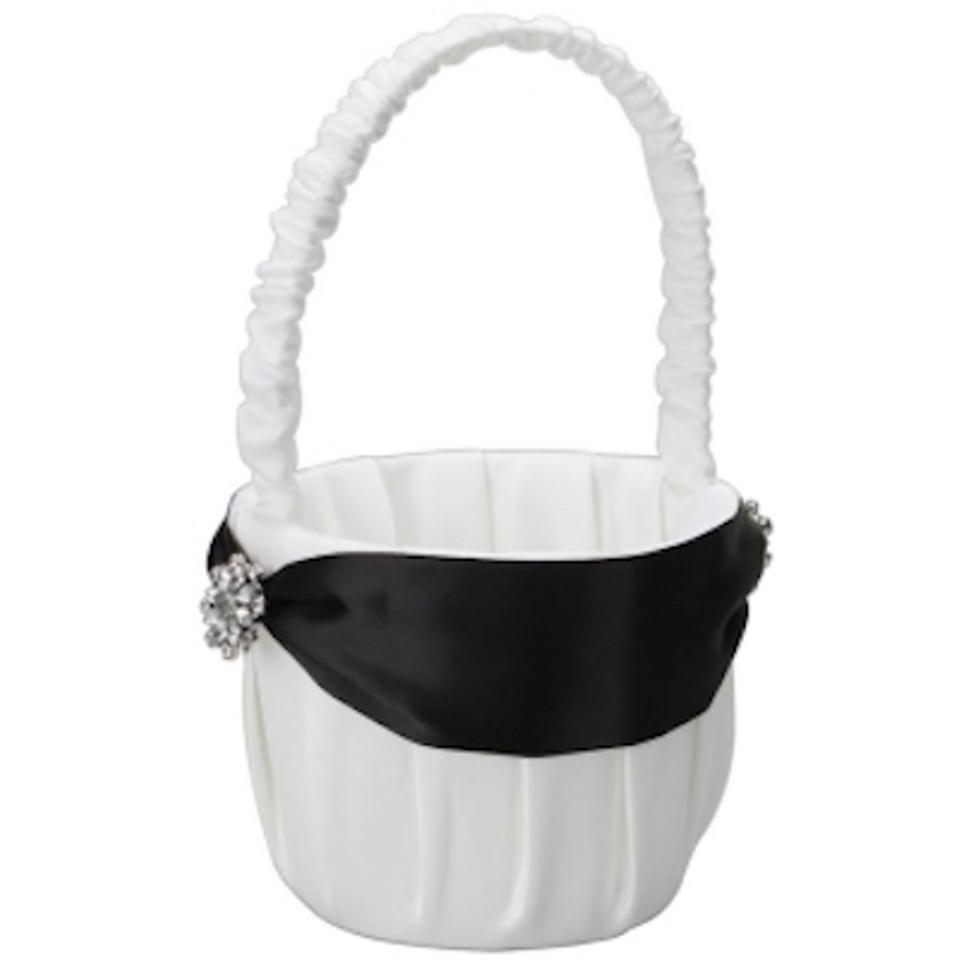 White And Black 2 Satin With Ribbon For Shelly Flower Girl Basket