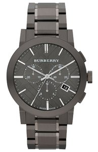 Burberry Burberry Watch, Men's Swiss Chronograph Gray Ion Plated Stainless Steel Bracelet 42mm BU9354