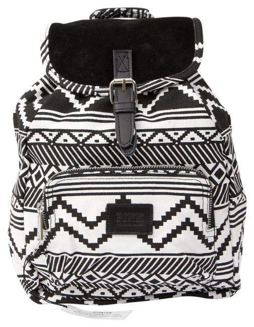 Item - Pink Black White Aztec Mini Multi-colored Cotton Canvas Backpack