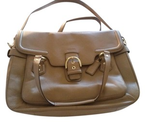 Coach Leather Gold Accents Satchel in Camel - Tan