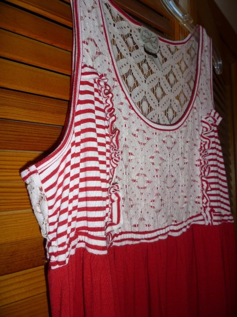 Red and White Maxi Dress by Eyelash Couture Stripe Lace