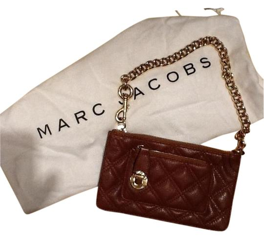 Marc Jacobs Clutch Forearm Gold Plated Chain Leather Vintage Wristlet in Brown