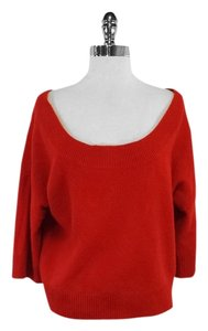 WHIT Bright Orange Knit Cropped Wide Neck Sweater
