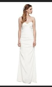 Nicole Miller Antique White Silk Strapless Stretch Bridal Dm0020 Formal Wedding Dress Size 10 (M)