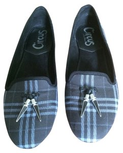 Sam Edelman Black & light blue plaid fabric Flats