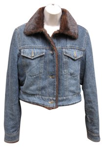 Marvin Richards #jean #cropped #fauxfur Denim Jacket