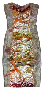 Nicole Miller short dress Metallic Multi Color Print Strapless on Tradesy