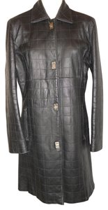 Brandon Thomas Quilted Long black Leather Jacket