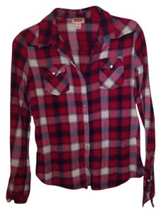 Mossimo Supply Co. Button Down Shirt Red & Black & White & Green & Brown