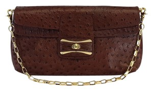 Sondra Roberts Brown Ostrich Leather Shoulder Bag