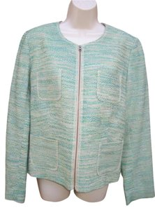 J. Jill #jjill #cotton #linen #blazer #textured Green Multi Blazer