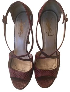 Saint Laurent Ysl Mary Jane Next Day Shipping Burgundy Sandals