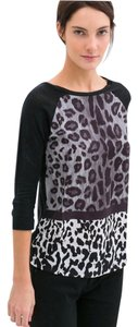 Zara Animal Longsleeve T T Shirt Black & multi-animal print