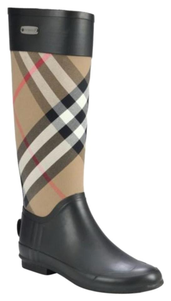 Burberry Clemence Brown Clemence Burberry Check Canvas Rain Boots/Booties 669500