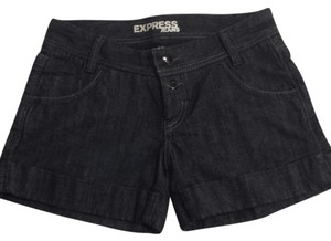 Express Exclusive Denim Cuffed Shorts dark blue