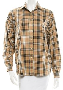 Burberry Tan Beige Nude Black Red Button Down Shirt Beige, Black, Multicolor