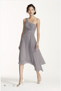David's Bridal Mercury F15608 - Short One Shoulder Crinkle Chiffon Dress Dress