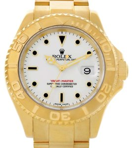 Rolex Rolex Yachtmaster Mens 18K Yellow Gold White Dial Watch 16628
