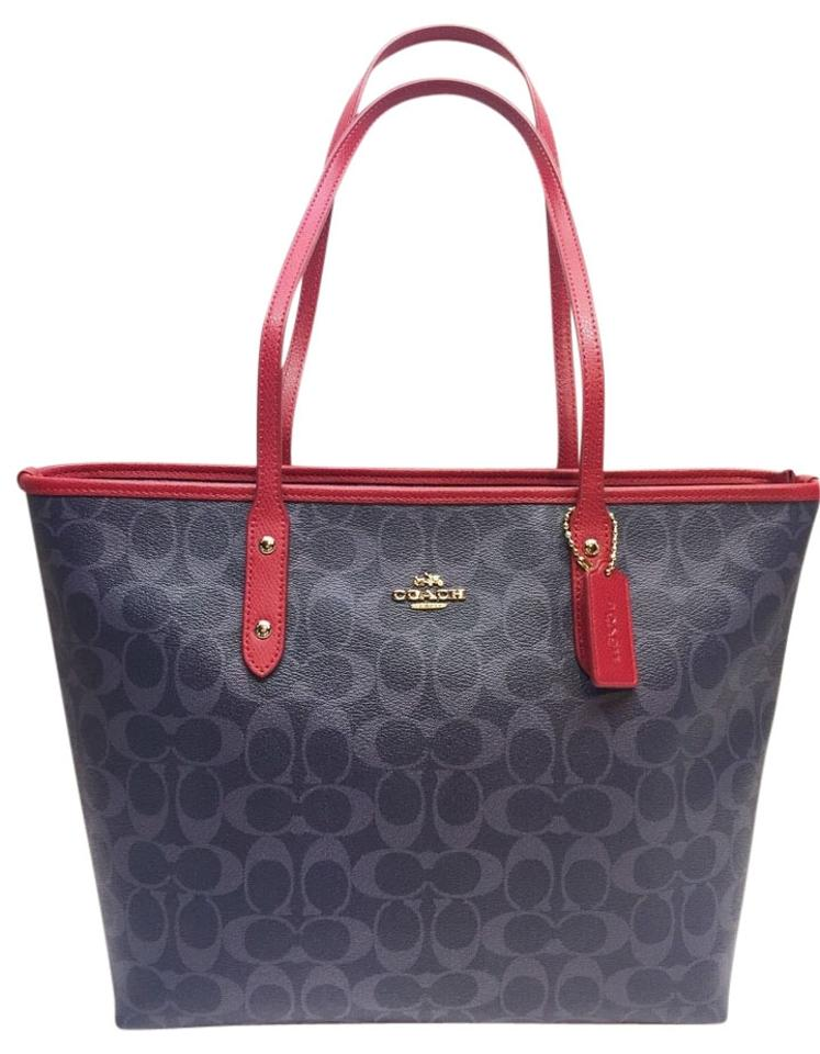 8571ba8d4909 Coach 36126 Canvas Black Brown F36126 City 35355 F35355 Cranberry Tote in  Demi blue red light ...