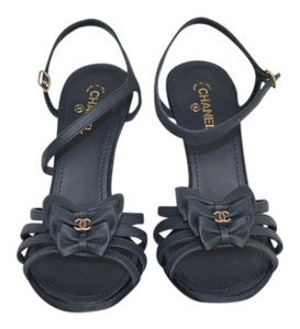 Chanel 36.5 Heel New Dark Navy Sandals