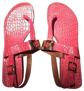 Tory Burch Snakeskin Coral Sandals