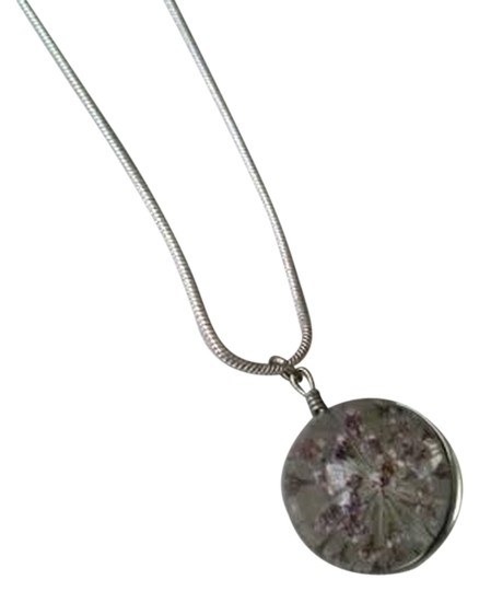 Other Dried Lavender Flowers Dome Charm on Sterling Silver Necklace