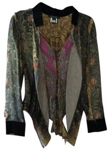 Roberto Cavalli Top Multi, golds,pinks,black,green