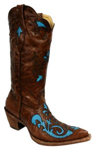 Corral Boots Vintage Brown / Blue Lizard Skin Inlay With Studs Boots