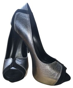 Joey O Metallic Silver and Black Platforms