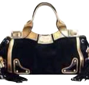 Gucci Satchel Hobo Tote in Black & Gold