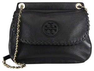 Tory Burch Leather Saddle Satchel Cross Body Bag