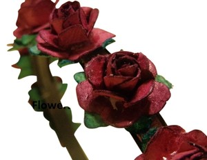 Other Beautiful Red (maroon) Paper Rose on Black plastic headband.