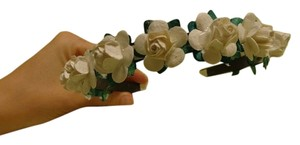 Beautiful Ivory Paper Roses on Black plastic headband