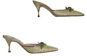 Manolo Blahnik lime green Mules