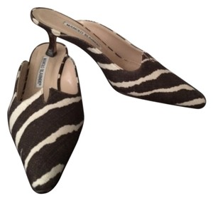 Manolo Blahnik Brown, cream Mules