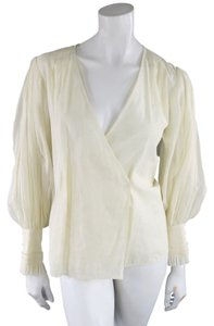Oscar de la Renta Wrap Sheer Crop Sleeves Top Beige
