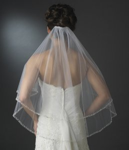 Elegance By Carbonneau Ivory Two Layer Beaded Edge Bridal Veil
