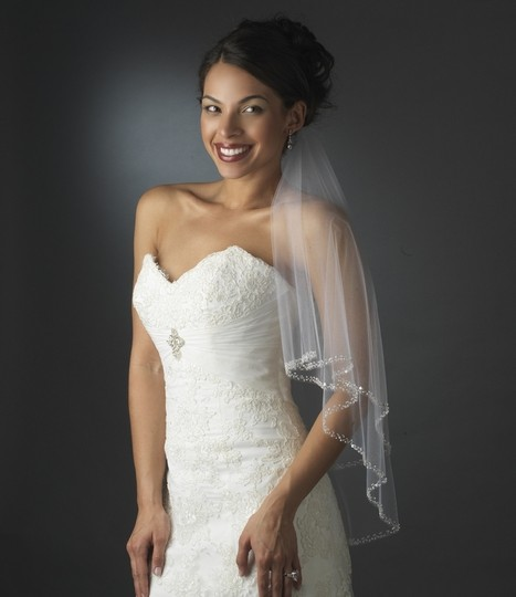 Elegance by Carbonneau Ivory Medium Two Layer Beaded Edge Bridal Veil