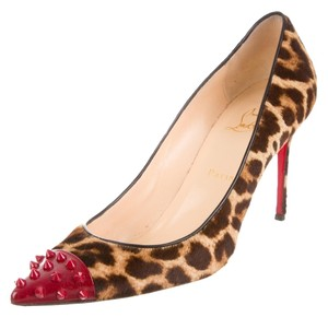 Christian Louboutin Tan Beige Brown Red Red, Brown, Black Pumps