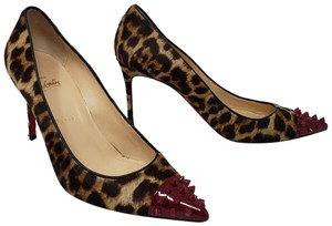 Christian Louboutin Spike Pointed Toe Geo Leopard Animal Print Brown Pumps