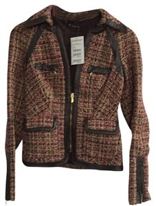 bebe Metallic Leather Trim Brown trim, gold, pink. 16% wool Blazer