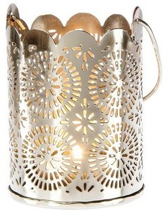 6 Small Punched Tin Shadow Lantern (sunburst Design)