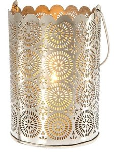 6 Large Punched Tin Shadow Lantern (sunburst Design)