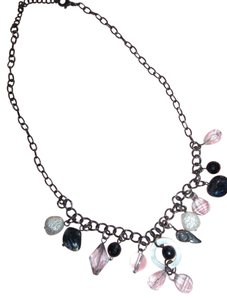 Chain necklace w/ Black, White, Crystal Look Beads