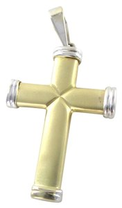 14K KARAT SOLID YELLOW WHITE CROSS MADE IN TURKEY 4.6 GRAMS FINE JEWELRY JEWEL