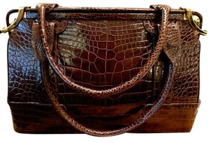 Judith Leiber Elegant Chic Satchel in Brown Alligator