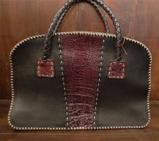 Divine Tribe Leather Ostrich Whip Boho Made Satchel in Black and Brown