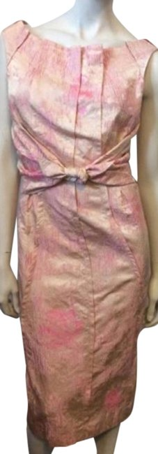 Item - Pink Brocade Mid-length Short Casual Dress Size 4 (S)