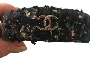 Chanel AUTHENTIC CHANEL TWEED BANGLE BRACELET CUFF