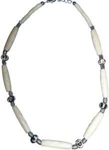 Bone Beads w/ Silver and Engraved Style Beads